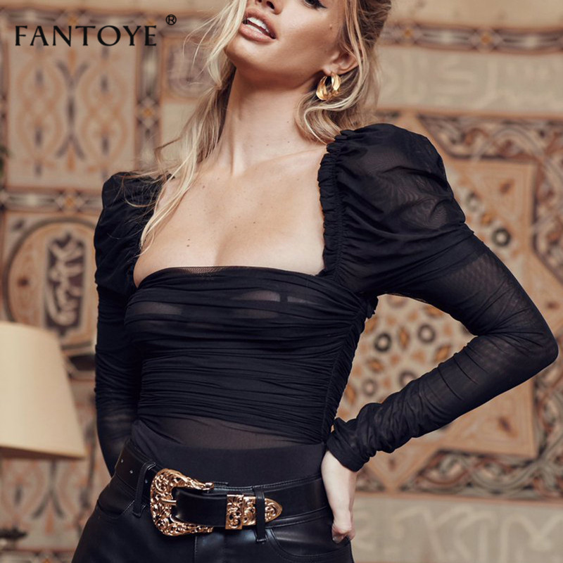 Fantoye <font><b>Sexy</b></font> <font><b>Black</b></font> <font><b>Lace</b></font> Low Collar <font><b>Bodysuit</b></font> Women Mesh Layered Backless Ruffles Slim Bodycon Tops Femme Elegant Vintage Overalls image