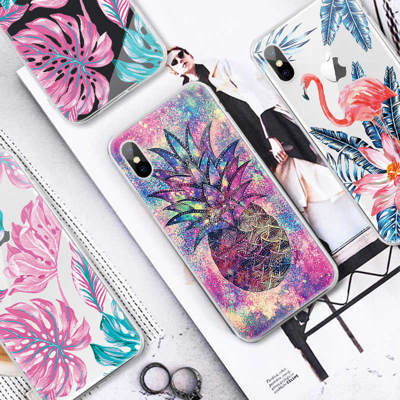 Pattern Case For iPhone XR XS Max X 10 7 8 Plus 6 S 6s 5s 5 SE Leaves Flower Soft Silicon TPU Back Cover For iPhone XS Max Cases