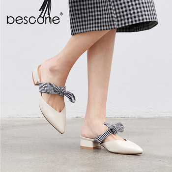 BESCONE Genuine Leather Women Shoes Sweet Handmade Pointed Toe Black White Low Heel Shoes Butterfly-knot Casual Lady Pumps BO22