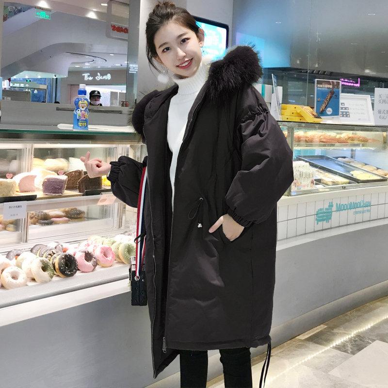 2018 Winter Coat Women Large Fur Collar Hooded Long Jacket Thicken Warm Korean Padded   Parkas   2018 Oversized Militar N06