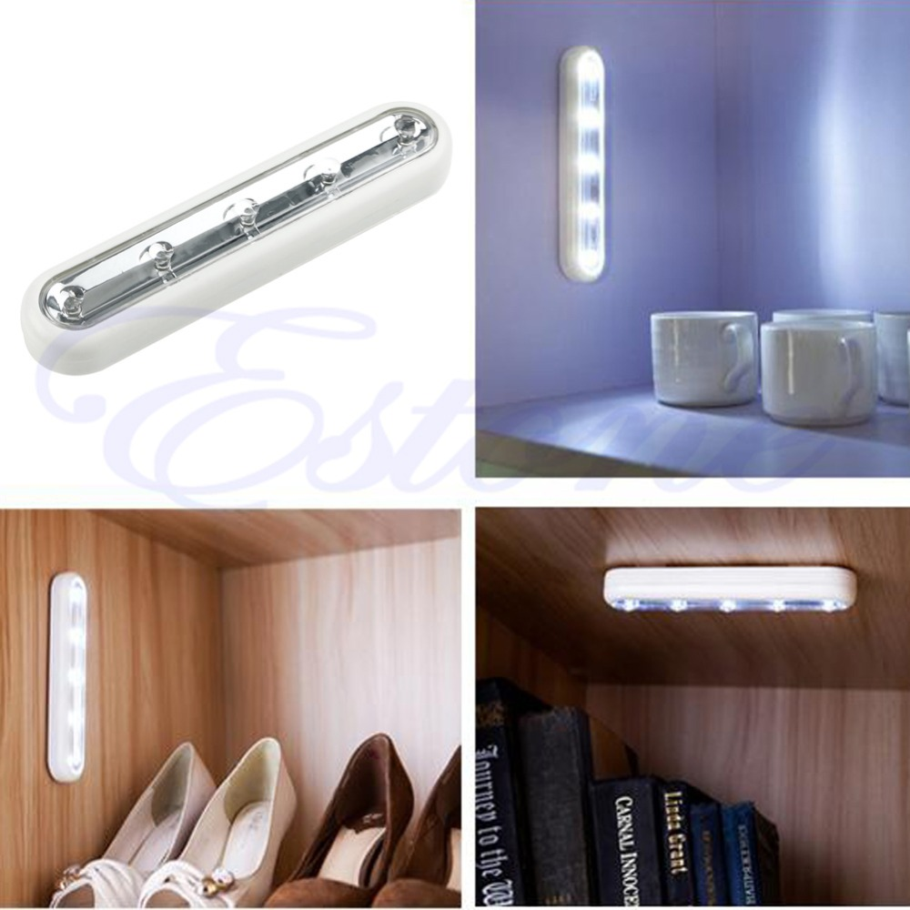 White Tap Lights 5 LED Self Stick Under Cabinet Push Night Light Lamp  Closet Light Lamparas Home Kitchen  Y103