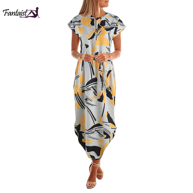 Fantaist Vestidos Women Of Autumn Dress O Neck Short Sleeve Sashes Print Loose Straight Ladies Daily Casual Work Wear Dress