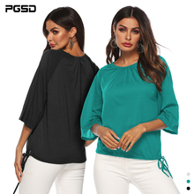 PGSD Summer solid Tee Pullover Three Quarter Sleeve O-Neck Frenulum Loose casual T-shirt female Simple Fashion Women Clothes