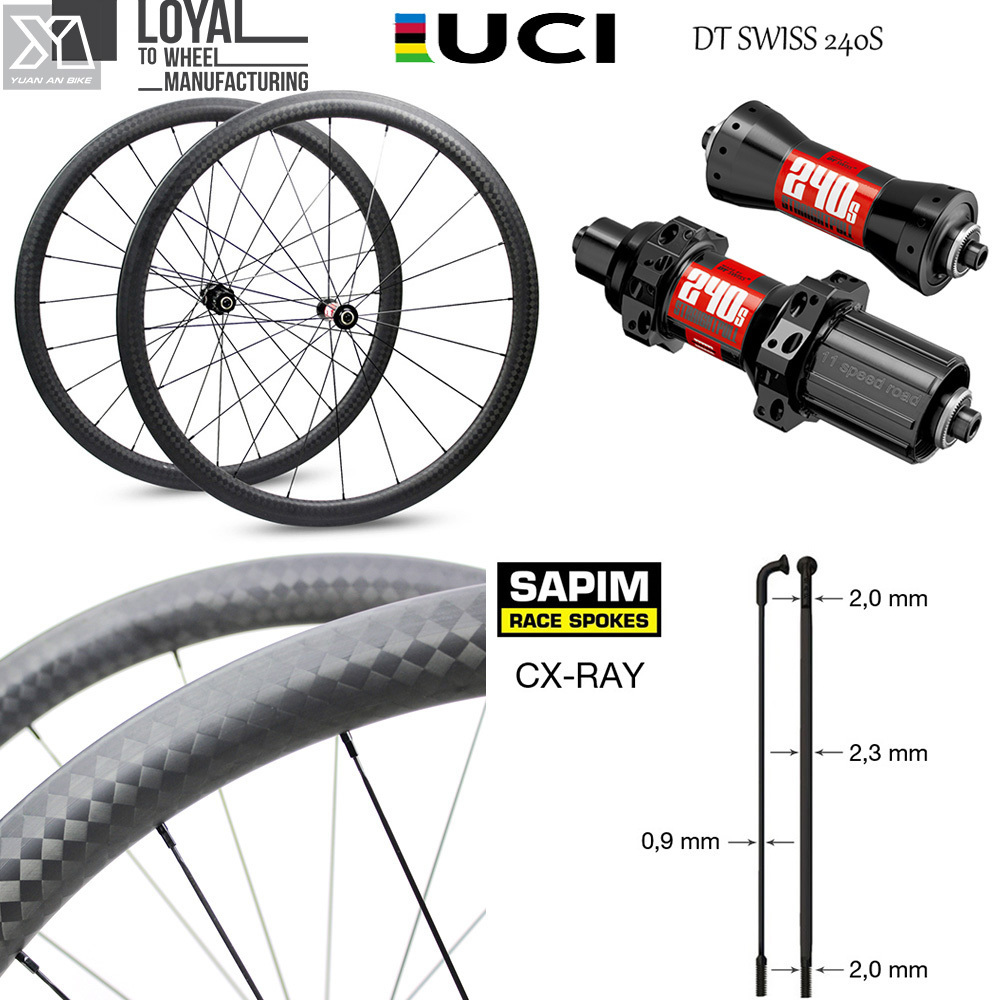 цена на High-End Carbon road Bike Wheel 30mm 38mm 47mm 50mm 60mm 88mm 700c bicycle Rim with DT Swiss 240S Hub Sapim CX-Ray Spoke