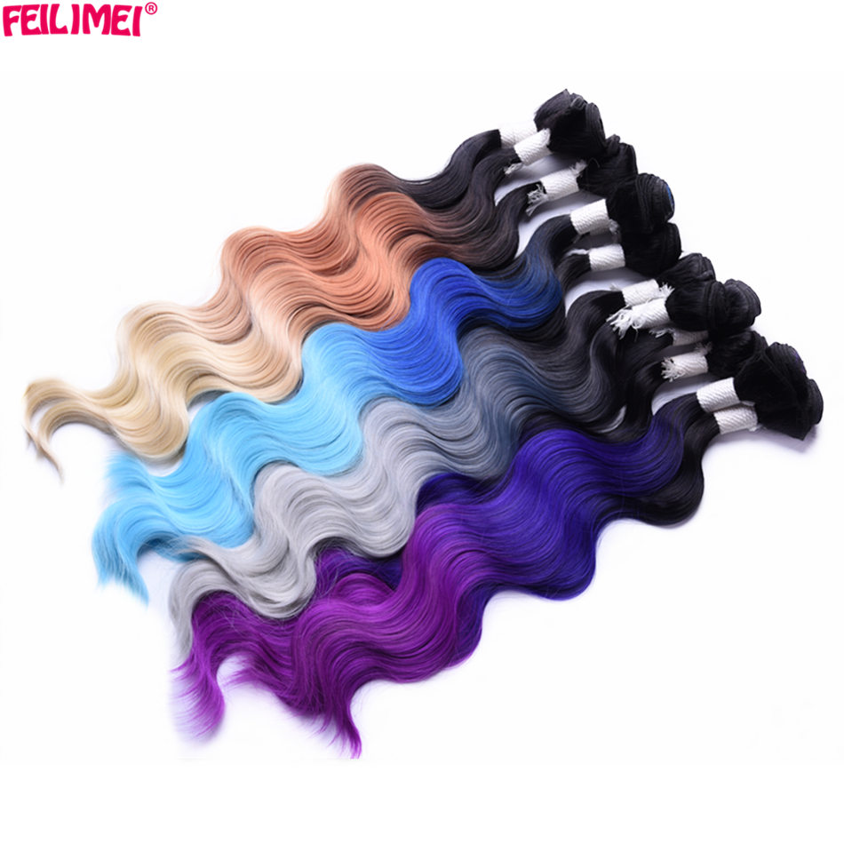 Feilimei Hair-Extensions Purple Blue Synthetic Blonde Body-Wave Ombre Green Gray 4pcs/Set