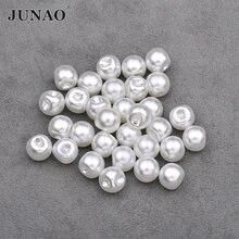 Junao 8 10 12 mm costura branco pérola botões redondo strass apliques scrapbooking botões para decoração de roupas de costura