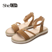 New Fashion Women Sandals Cow Suede Rome Sandals Women Casual Buckle Strap Sandals Classic Women Shoes She ERA trendy suede and buckle strap design sandals for women