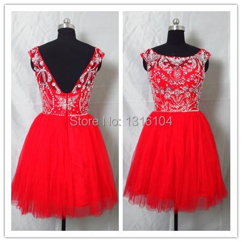 2017 Summer Affordable Petite Party Dresses Red Short Knee Length Beaded Tulle Sleeveless Cocktail Dresses For Girls