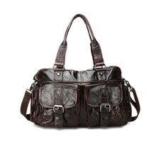 Vintage Real Skin Genuine Leather Men Messenger Bags Cowhide Man Handbag Briefcase Portfolio #M016