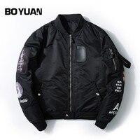 BOYUAN Patch Designs Bomber Jacket Men Coat Letters Embroidery Hip Hop Pilot Coat Men Plus Size