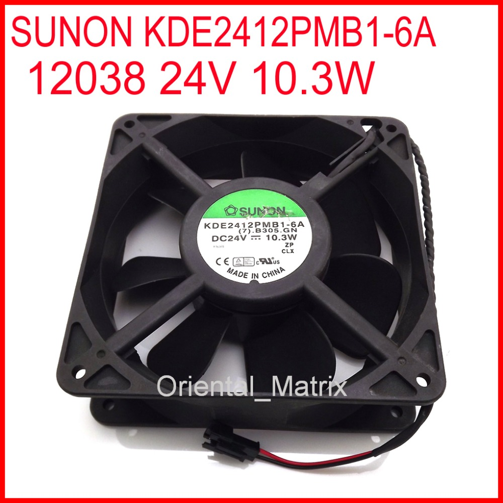 Free Shipping KDE2412PMB1-6A 12038 24V 10.3W 120*120*38mm Cooler Cooling Inverter Fan 2Wire 2Pin