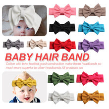 2019 New 5 Hair Bow Headband For Girls Chic Solid Spring Hairband Ties Kids DIY Accessories Headwear