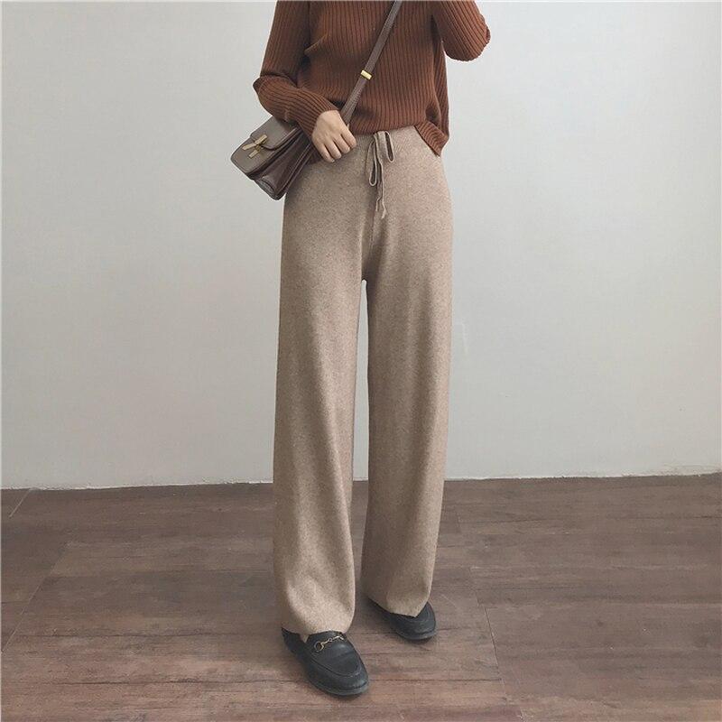 Autumn Women's   Pants   Casual Solid Color Loose Knit   Wide     Leg     Pants