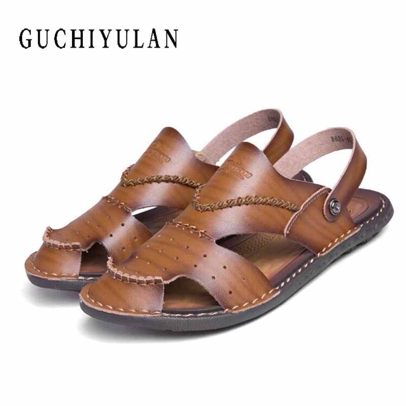 Summer Men Sandals Handmade Genuine Leather Slippers Two Way Wear Breathable Beach Shoes Soft Hard-Fold Sandalias obuwie damskie
