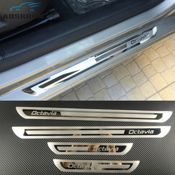 цена на car-styling Stainless Steel Side Door Scuff Plate Door Sill Trim Fit Car accessories For Skoda Octavia A5 A7 2007-2012 2013-2018