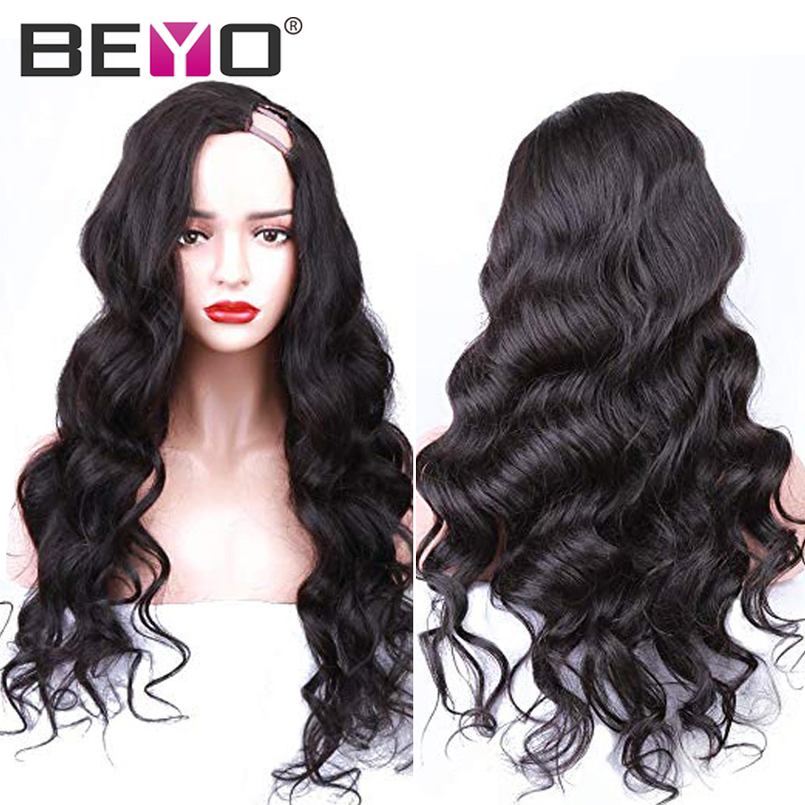 U Part Wig Glueless Human Hair Wigs For Women Brazilian Body Wave Lace Wig 10-26 Inch 150/180 Density Natural Color Remy Beyo