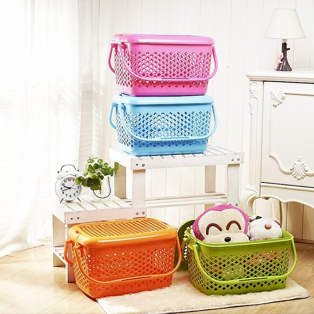 Multi Purpose Large Portable Storage Plastic Storage Basket Toy Snacks  Sundries Fruit Pet Basket With Lid