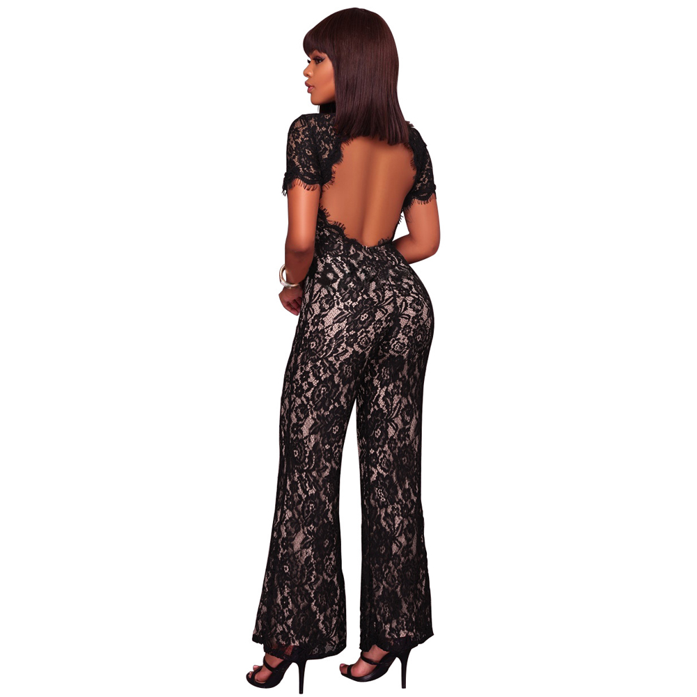 Sexy Women Lace Long Jumpsuit O Neck Short Sleeve Open -8272