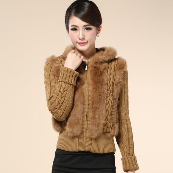 2018 hiver femmes acrylique tricot solide chandail chaud avec fourrure de lapin veste