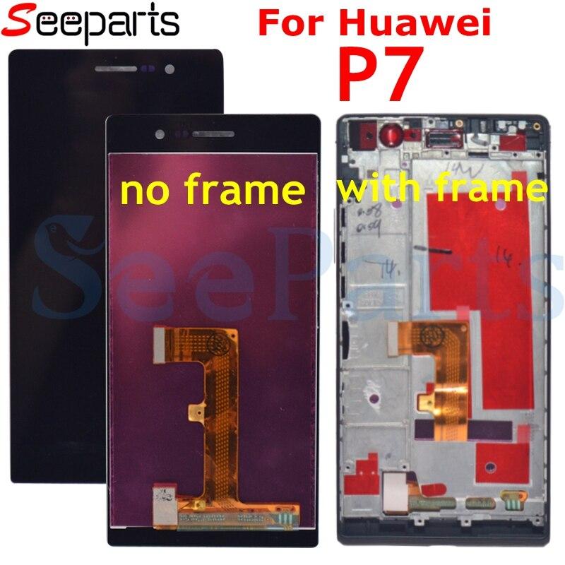 Для Huawei Ascend P7 ЖК дисплей сенсорный экран с рамкой в сборе 5,0 ЖК дигитайзер для Huawei P7 ЖК экран Замена протестирована