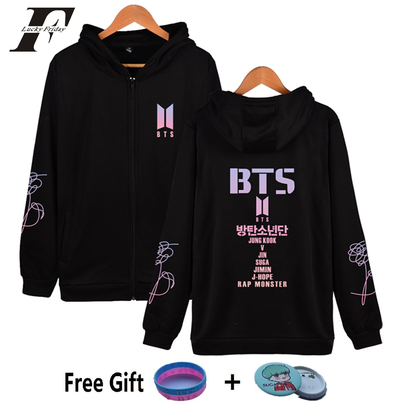 2018 BTS kpop Bangtan Boys oversized Hoodies sweatshirts Women Zipper cotton tracksuit bts album bts love yourself jacket Coat