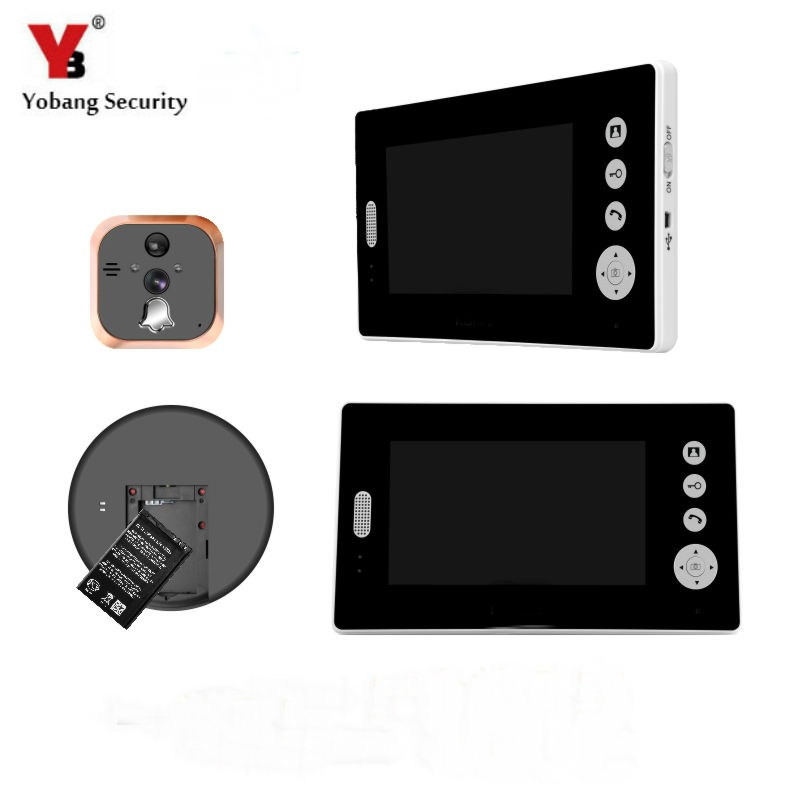 YobangSecurity 2.4G 7 LCD Wireless Video Door Phone Doorbell Peephole Viewer Door Camera Home Security Kit 1 camera 2 Monitor