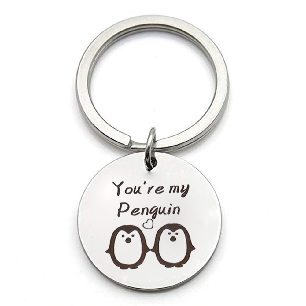 Fashion Charms Key Chains Stainless Steel You Are My Penguin Key Ring Holder Keychain Couple Gift Jewelry Porte Clef