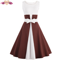 XZreal Two Tone Patchwork Tunic Evening Party Dress Women Summer Retro Rockabilly Dress With Belt Bow