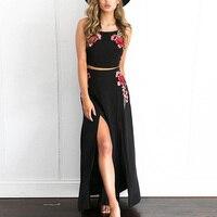 Kate Kasin Sexy Flower Ukraine Ladies Long Dress Women Summer Backless Bandage Embroidery Split Beach Casual