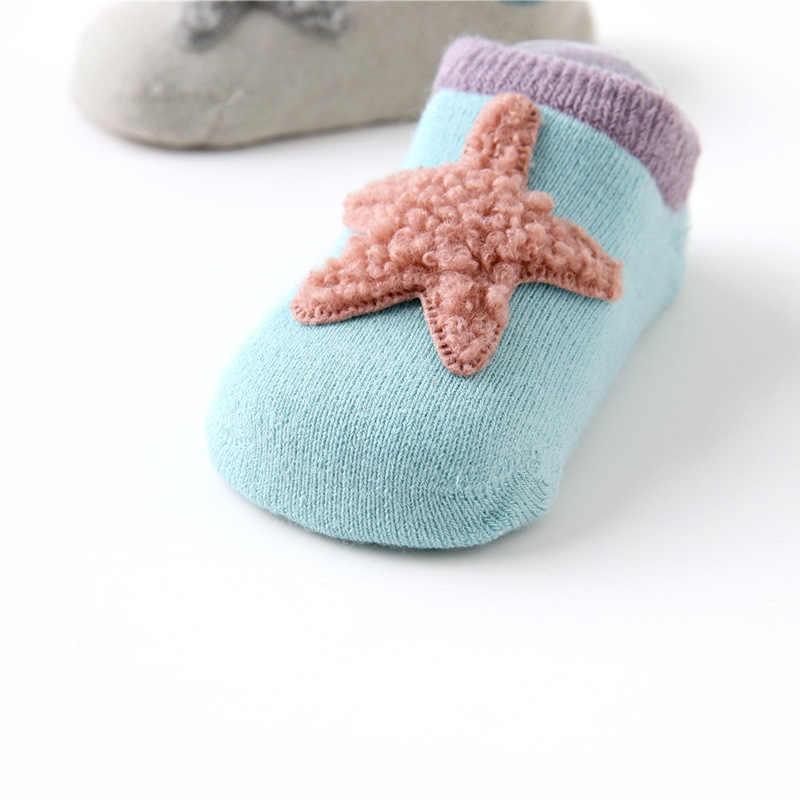 6 пар/лот новорожденных зимние теплые мягкие носки для малышей из хлопка для мальчиков и девочек милые Нескользящие но