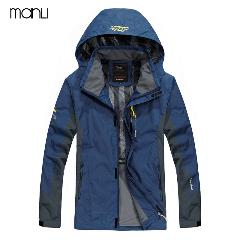 MANLI New Spring Autumn Mens Softshell Hiking Jackets Man Hooded Outerwear Outdoor Camping Trekking Climbing Coat For Waterproof new men s military style casual fashion canvas outdoor camping travel hooded trench coat outerwear mens army parka long jackets