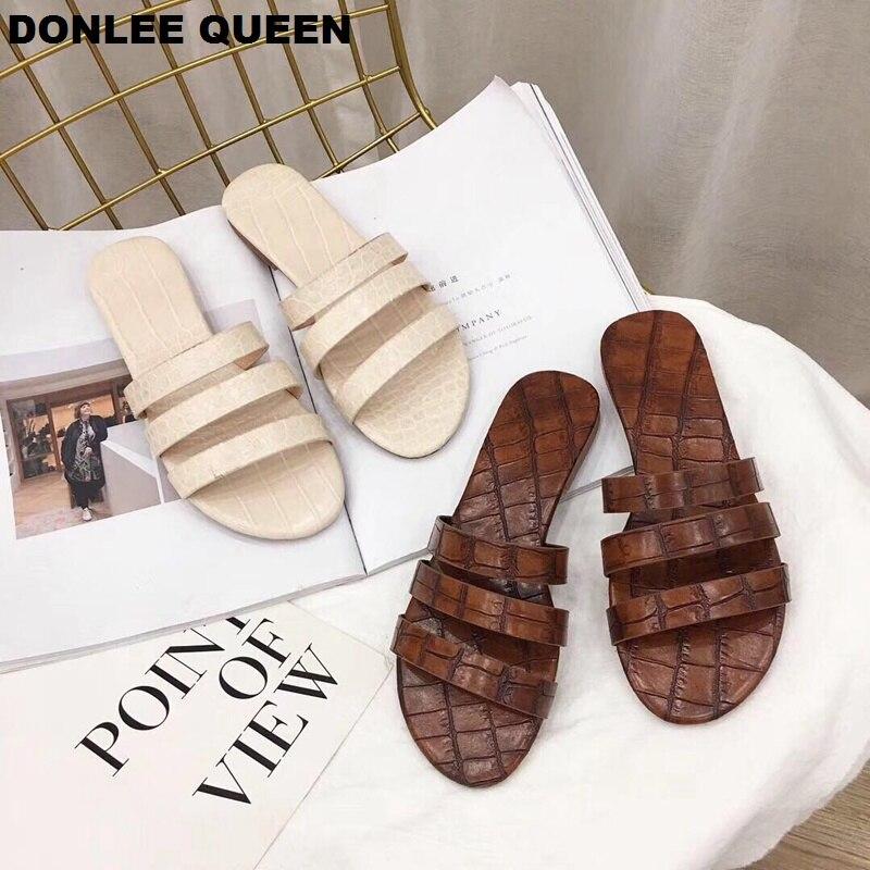 2019 Летняя обувь; женские шлепанцы на плоской подошве; сандалии гладиаторы с узкими ремешками; брендовые шлепанцы с открытым носком; пляжные вьетнамки; sandalias mujer; обувь