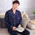 Nova chegada da Primavera Inverno Masculino Plus Size Pijamas de Algodão Conjunto de Impressão Camisola de Manga Longa Da Marinha Dos Homens Agasalho Vestido Roupa de Dormir