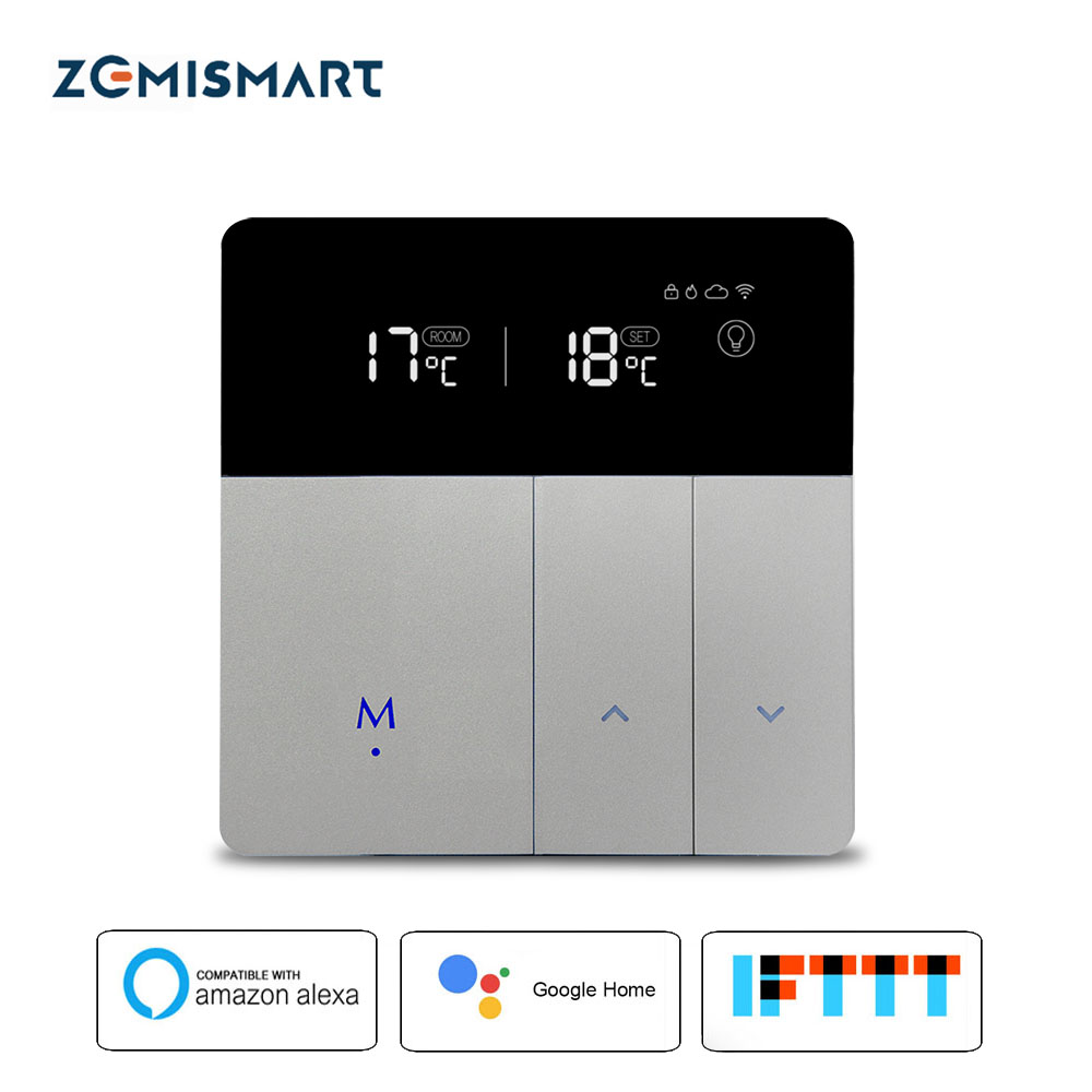 Electric Floor Heating Thermostat Work with Alexa Google Home Smart WIFI Control external Temperature Controller 16A 110v  240vElectric Floor Heating Thermostat Work with Alexa Google Home Smart WIFI Control external Temperature Controller 16A 110v  240v