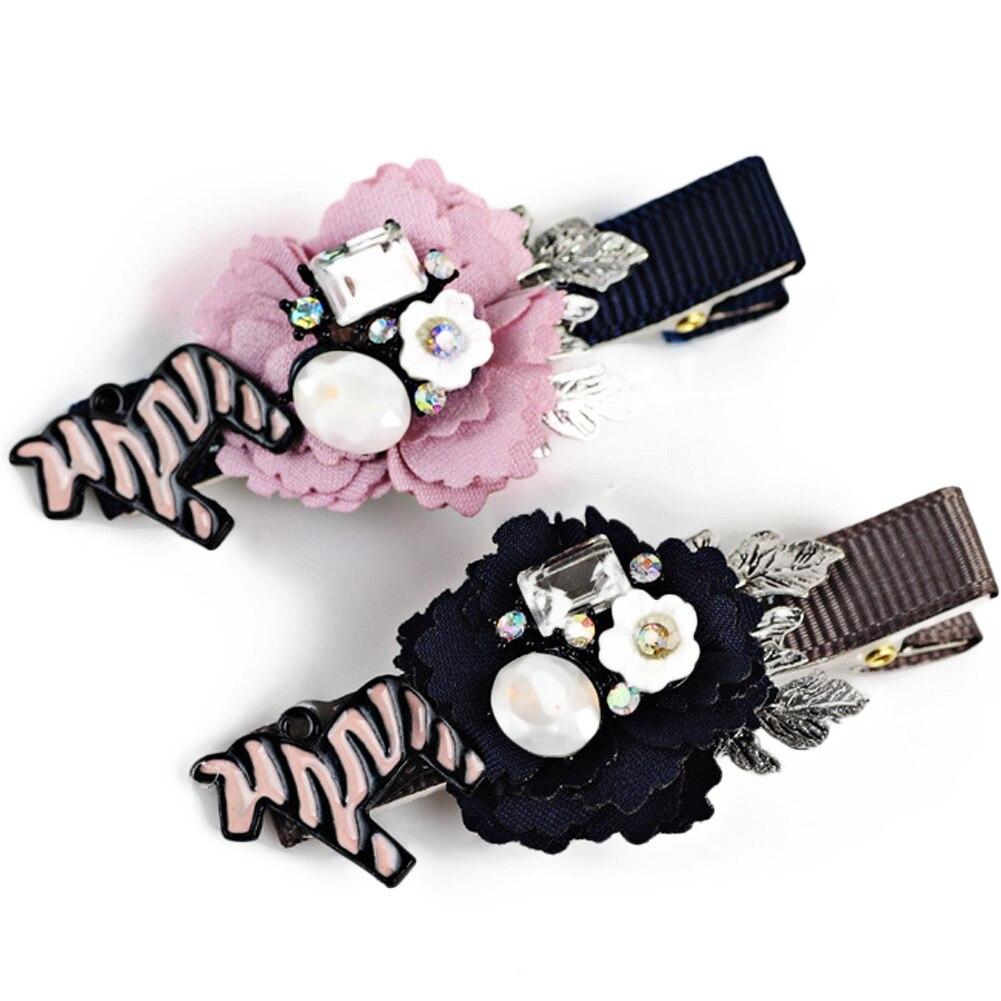 2017 Korea Cloth Flower Diamond Hair Accessories Weave Hair Bows Rim Hairpin Hair Clips For Women Headbands For Girls