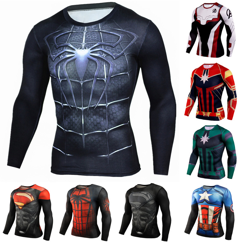 2019 Avengers Endgame Marvel T Shirt Dry Fit Compression Shirt Long Seeve Gym Crossfit Rashgard 3d Sportswear Men Super Hero Tee
