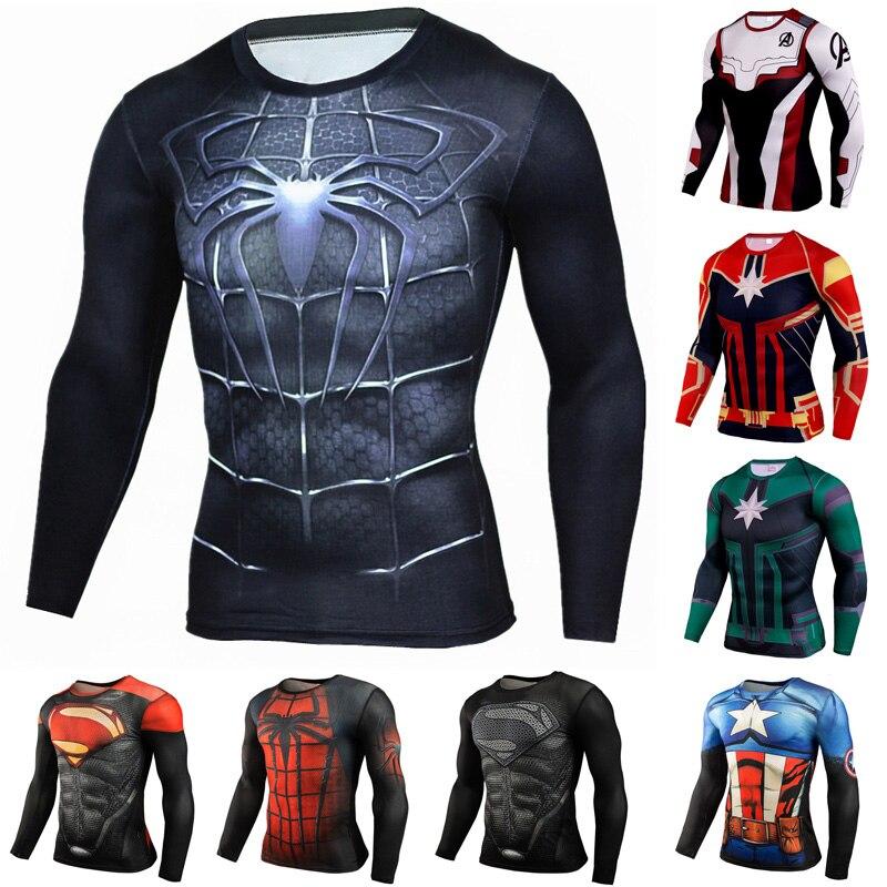 Dry fit Long Sleeve 3D   T     Shirt   Men Marvel   T  -  Shirt   Super Hero Compression   Shirt   Avengers MMA Rashguard Male Crossfit Tee Tops
