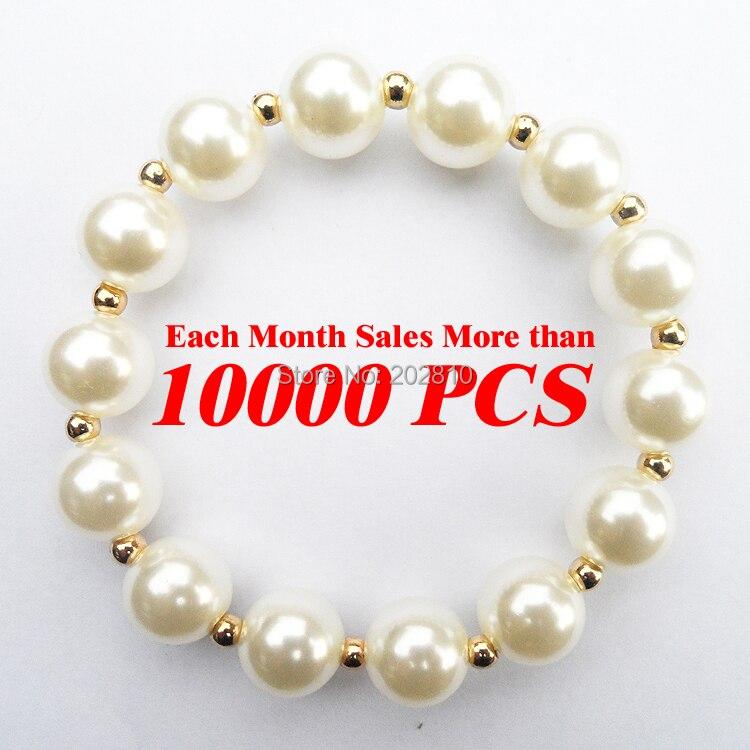 adaca56622c21 Gorąca sprzedaż najniższa cena biały okrągły kształt 12mm Pearl bransoletka  & bangle biżuteria, Moda Złoto-kolor perłowy koralik bransoletką