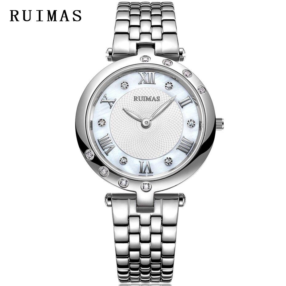 RUIMAS Ladies Watch Women Fashion Ultra thin Quartz Watches Luxury Stainless Steel Wristwatches Relogio Feminino Bracelet