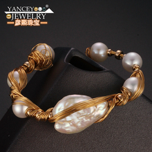 YANCEY New popular elements Original design Natural Baroque pearl bracelet women Fine jewelry with 9k gold hand-woven production