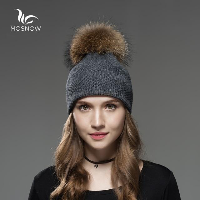 Mosnow Raccoon Fox Fur Pom Poms Winter Hats Interwoven Texture Women Warm Vogue Knitted Casual  Hat Female Skullies Beanies