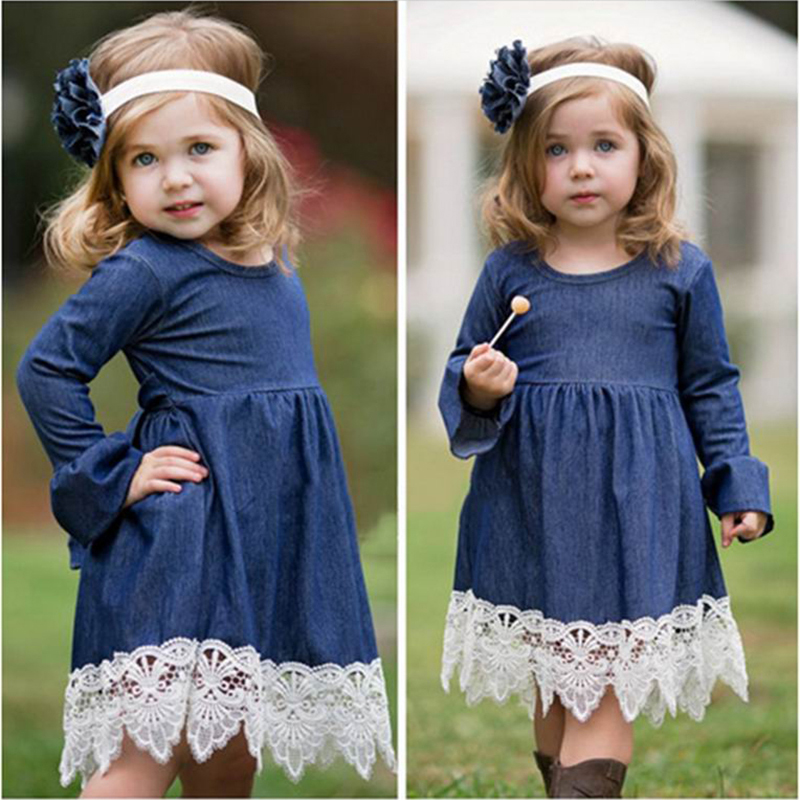 Long Sleeve Girls Denim Dress Lace Evening Kids Dress Autumn Girls Princess Dress Fashion Party Dresses Baby Girl Costume 2-8 Y girls evening dress autumn long sleeved lace princess dresses children clothes 2 16y baby girl costume kids birthday party dress