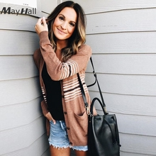 MayHall Long Sleeve Cardigan Autumn Patchwork Jumper Single Breasted Casual Sweater with Pocket Knitted casaco feminino MH338