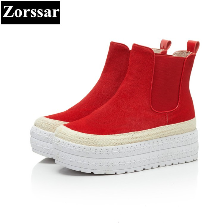 {Zorssar} 2017 NEW fashion Women ankle Boots High heels platform womens Boots Genuine Leather Horse hair womens shoes winter pop relax health care tourmaline ball bracelet korea germanium stone negative ion balance energy fashion bracelets for women men