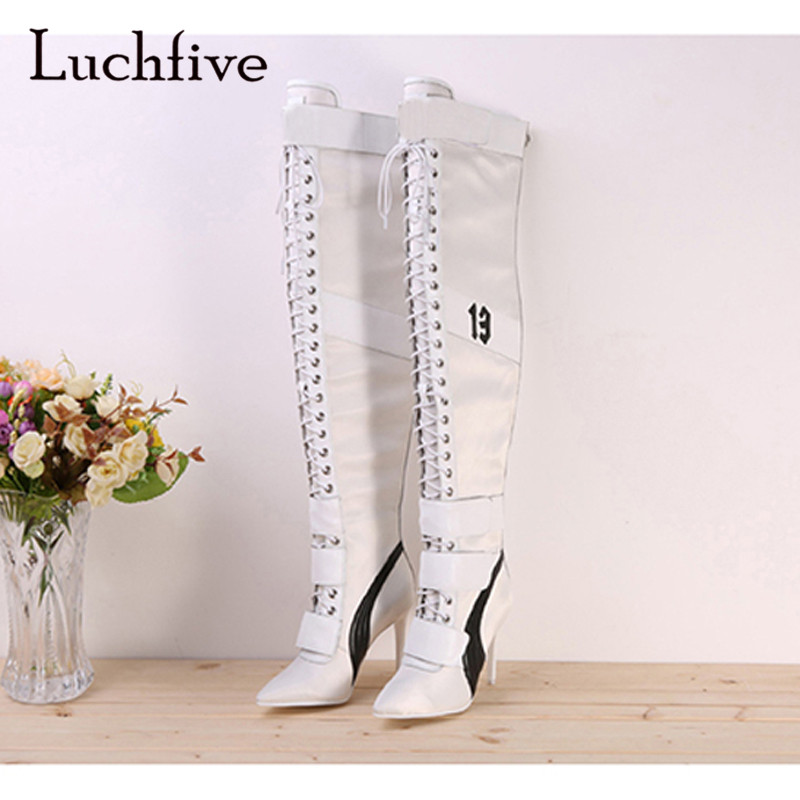 2018 Runway Thigh high boots for Women Point Toe Real Leather High Heel Boots Lady Sexy Over the knee knight boots2018 Runway Thigh high boots for Women Point Toe Real Leather High Heel Boots Lady Sexy Over the knee knight boots