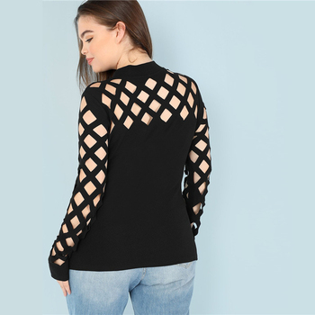 Black Sexy Square Cutout Long Sleeve Stand Collar Women Plus Size T Shirt