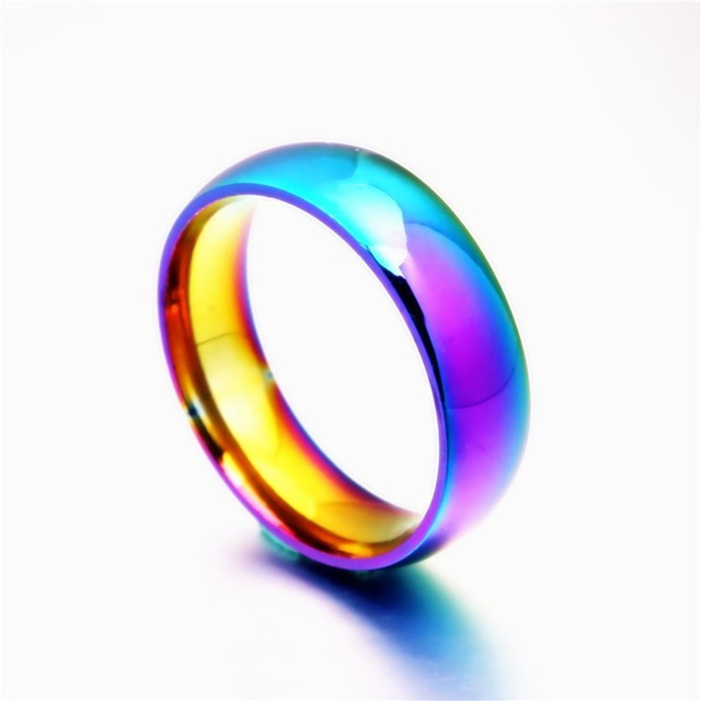 2018 New Rainbow Colorful Stainless Steel Ring Size 6-11 For Men Women