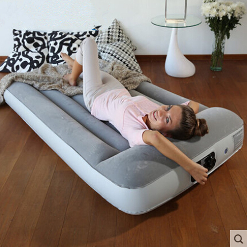 Flocking inflatable mattress Household gas charging bed Portable bed Built in charge pump