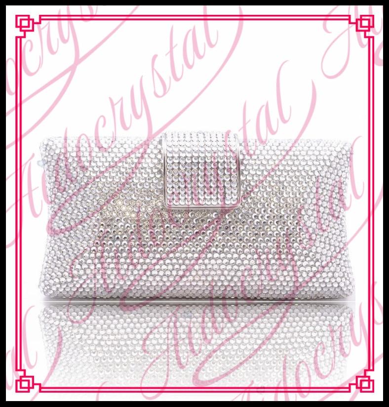 Aidocrystal Handmade Italy wedding silver color purse Fashion stones evening clutch bags Bling Crystal handbag high