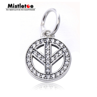 Authentic 925 Sterling Silver Peace Sign Silver Dangle With Cubic Zirconia Dangle Charm Fit Brand Bracelets
